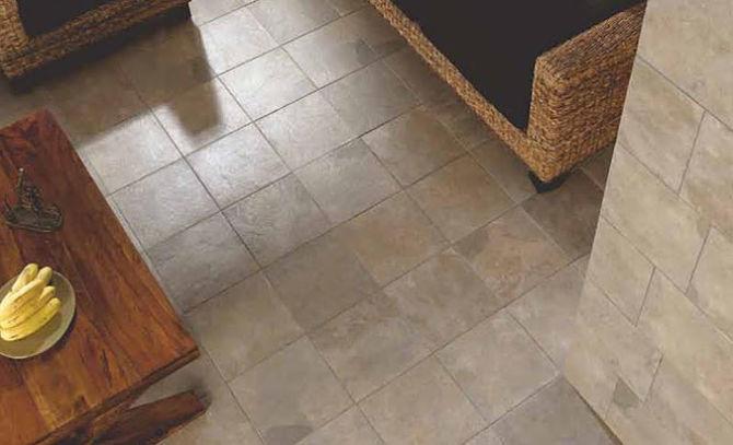 Materiales y azulejos de suelos rústicos en cocinas
