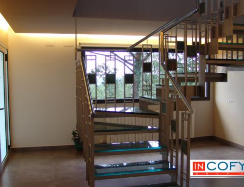 Escalera de diseño en proceso de construcción